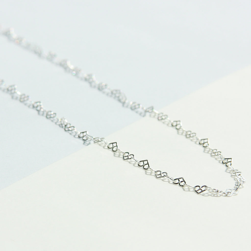 Heart Link Chain Necklace - 40cm