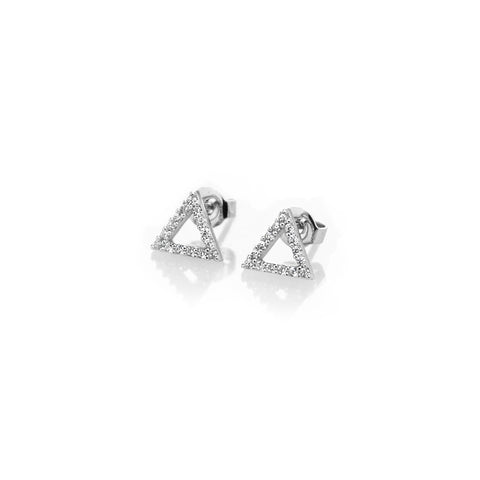 Pave Triangle Earrings - BE.ARUM  - 1