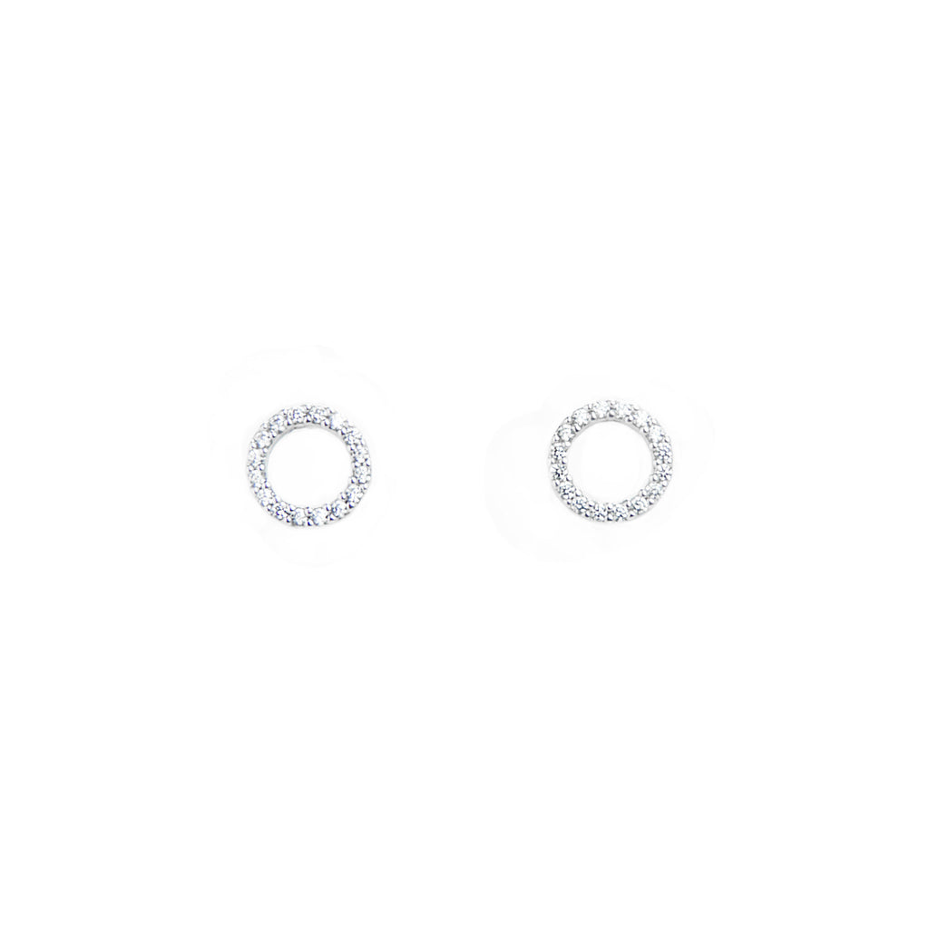 Pave Circle Earrings - BE.ARUM  - 2