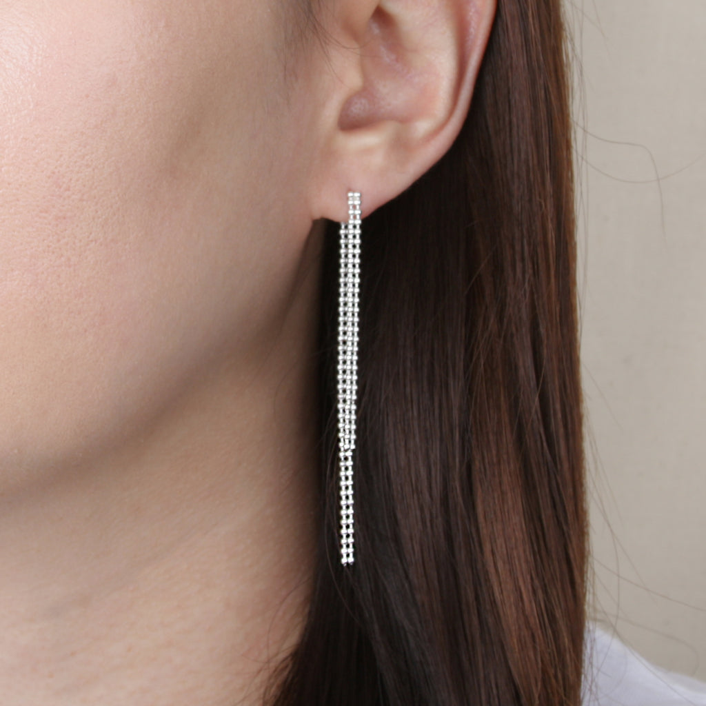 Double Ball Chain Drop Earring