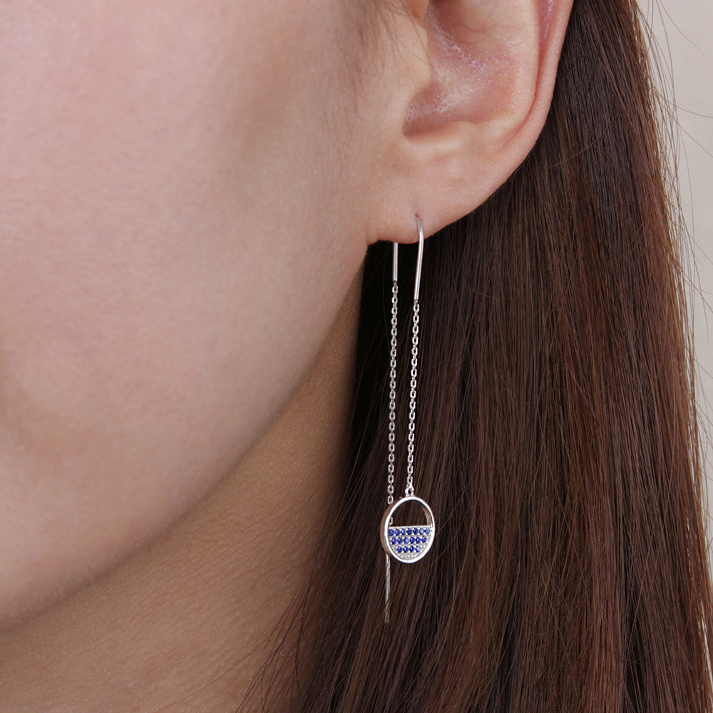Pave Disc Drop Earring Blue Stone