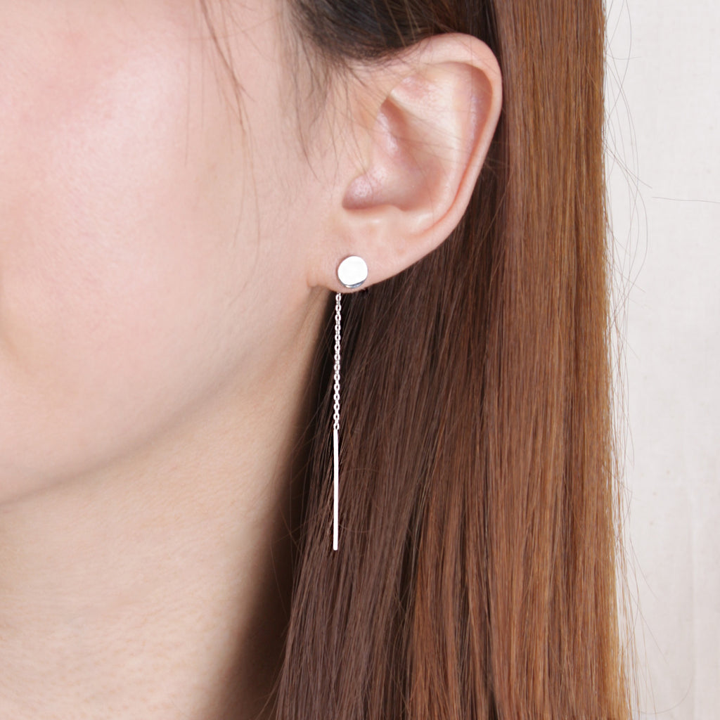 disc earrings flat silver sterling crystal stud image