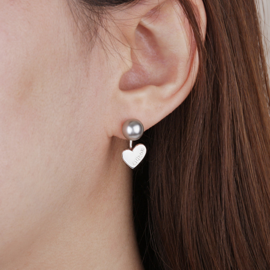 You are Lovely Earrings Grey Pearl