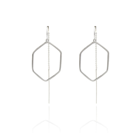 Hexagon Ring Drop Chain Earring