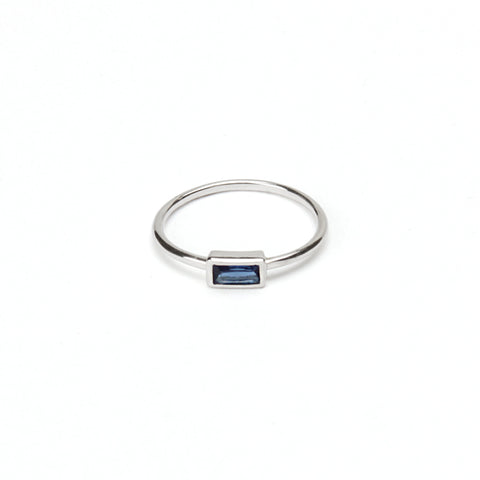 Baguette Point Ring - Blue Sapphire