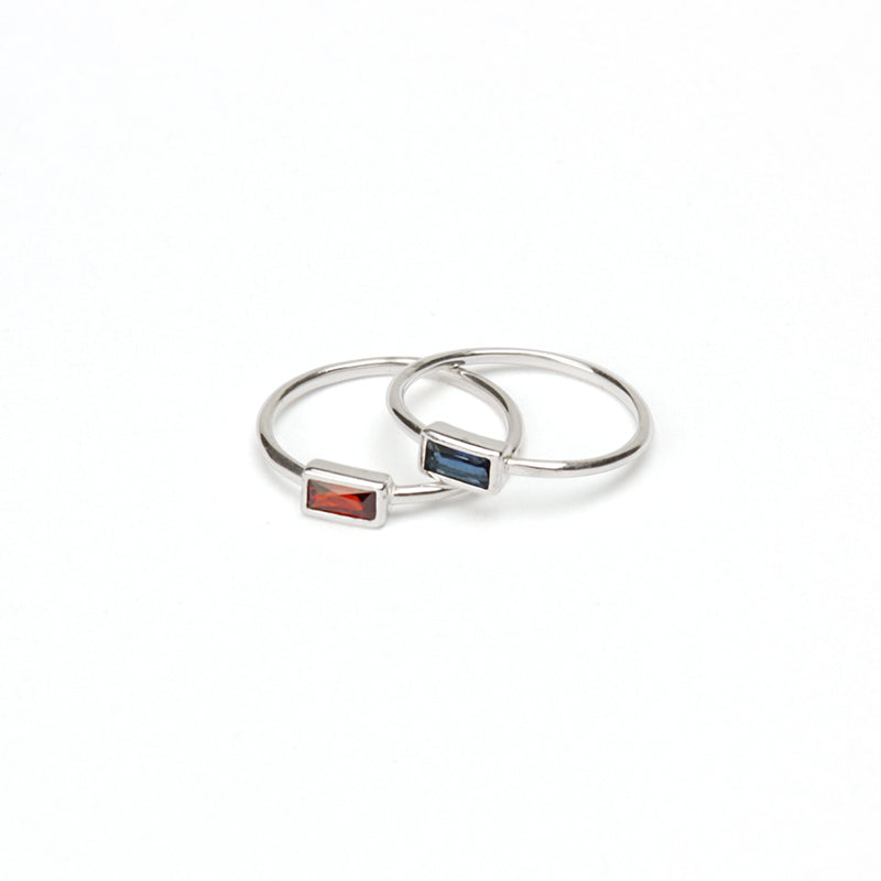 Baguette Point Ring -Ruby