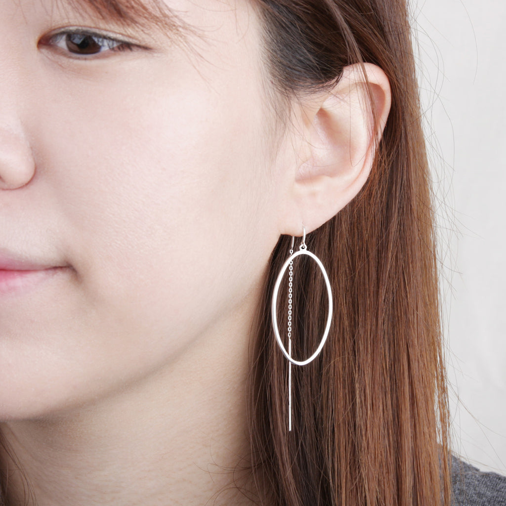 Oval Ring Drop Chain Earring