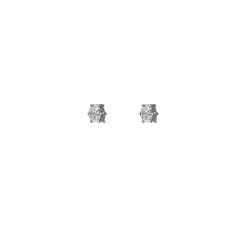 Oval Stud Earring (White Stone)