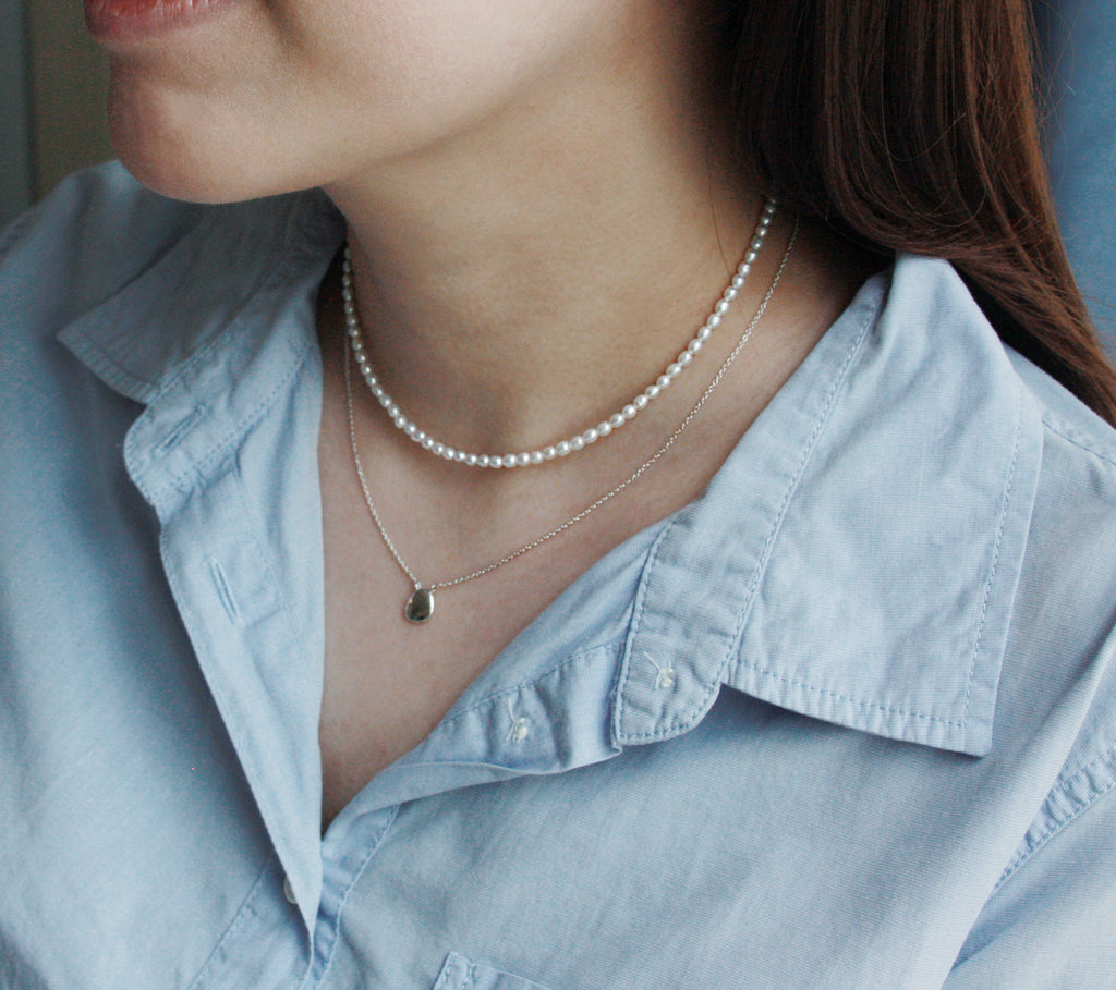 Pearl Pebble Choker Necklace