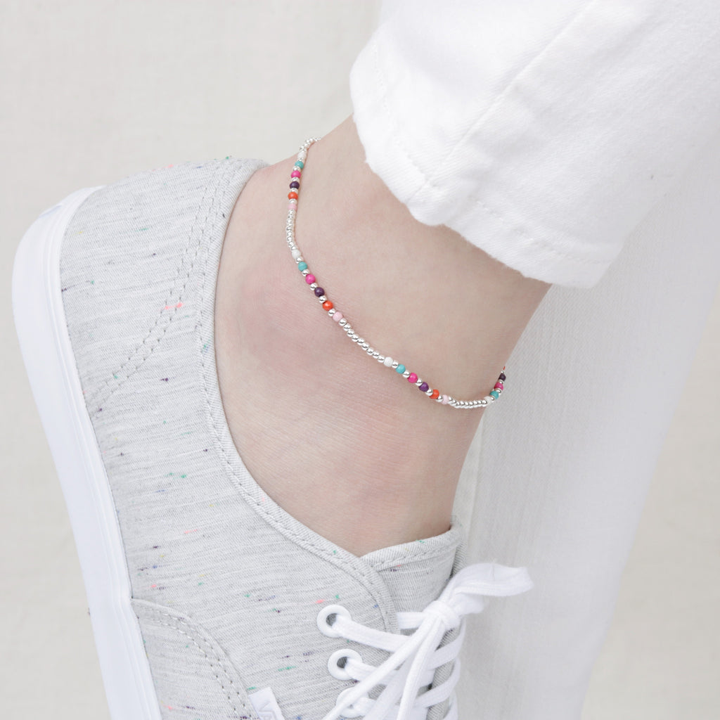 Rainbow Beads Silver Anklet