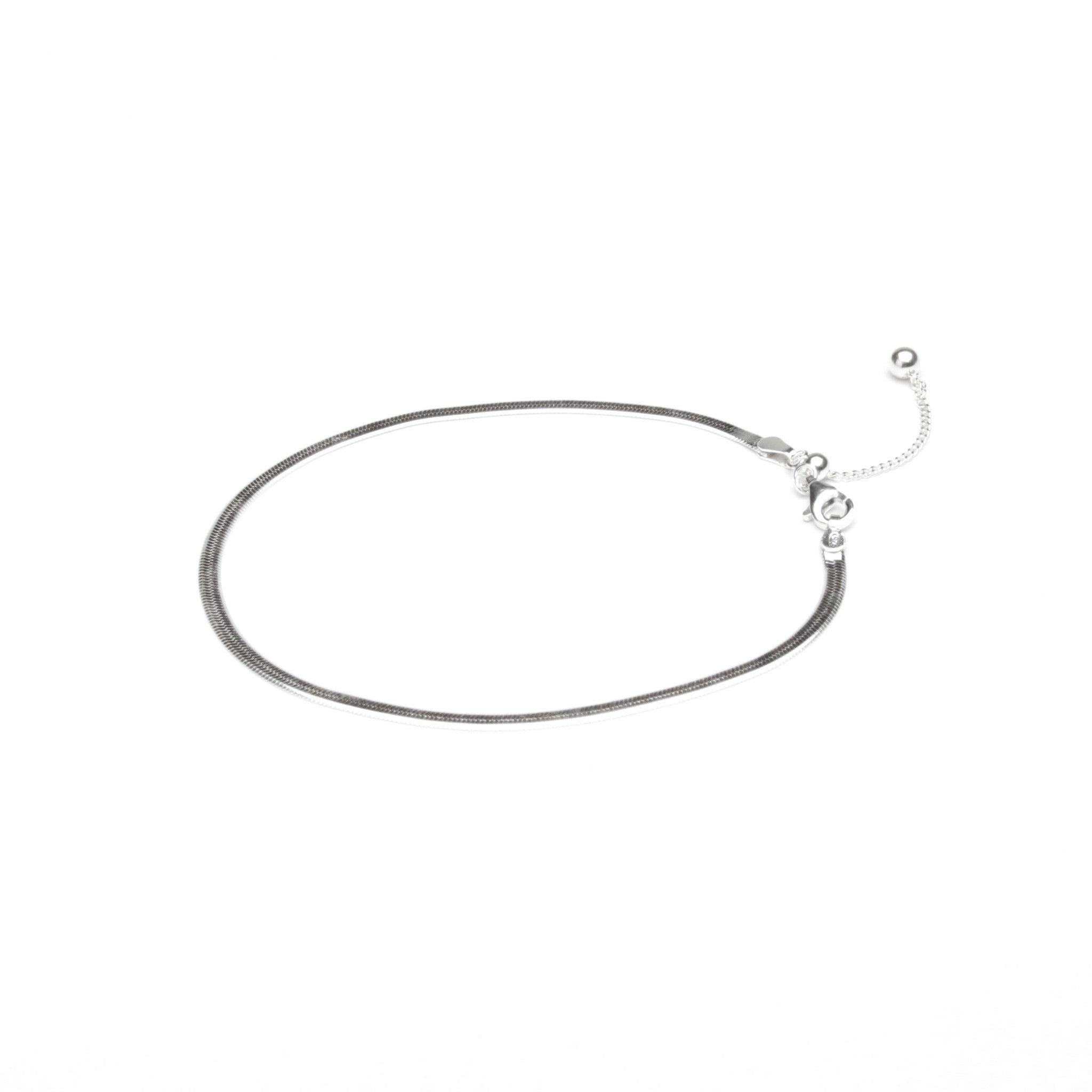 Flat Snake Silver Chain Anklet