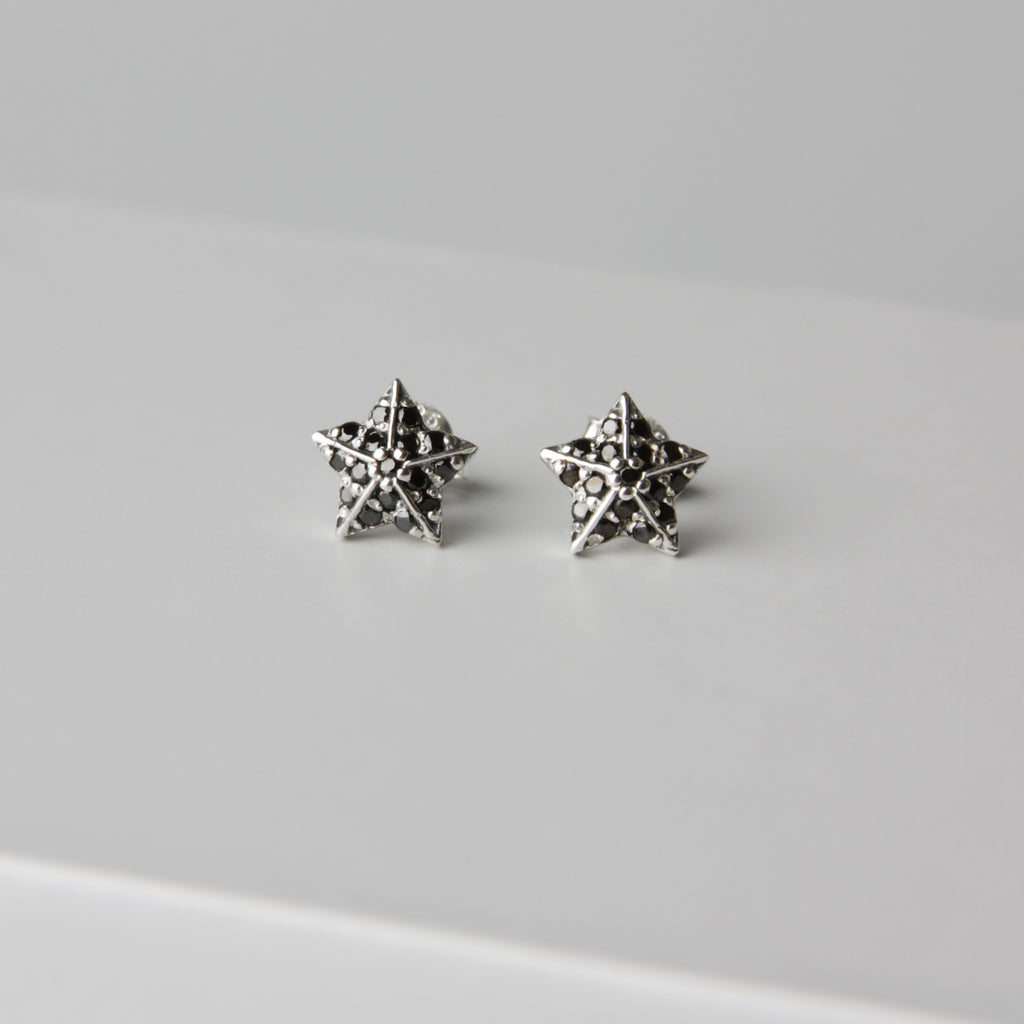 Black Shine Star Earrings