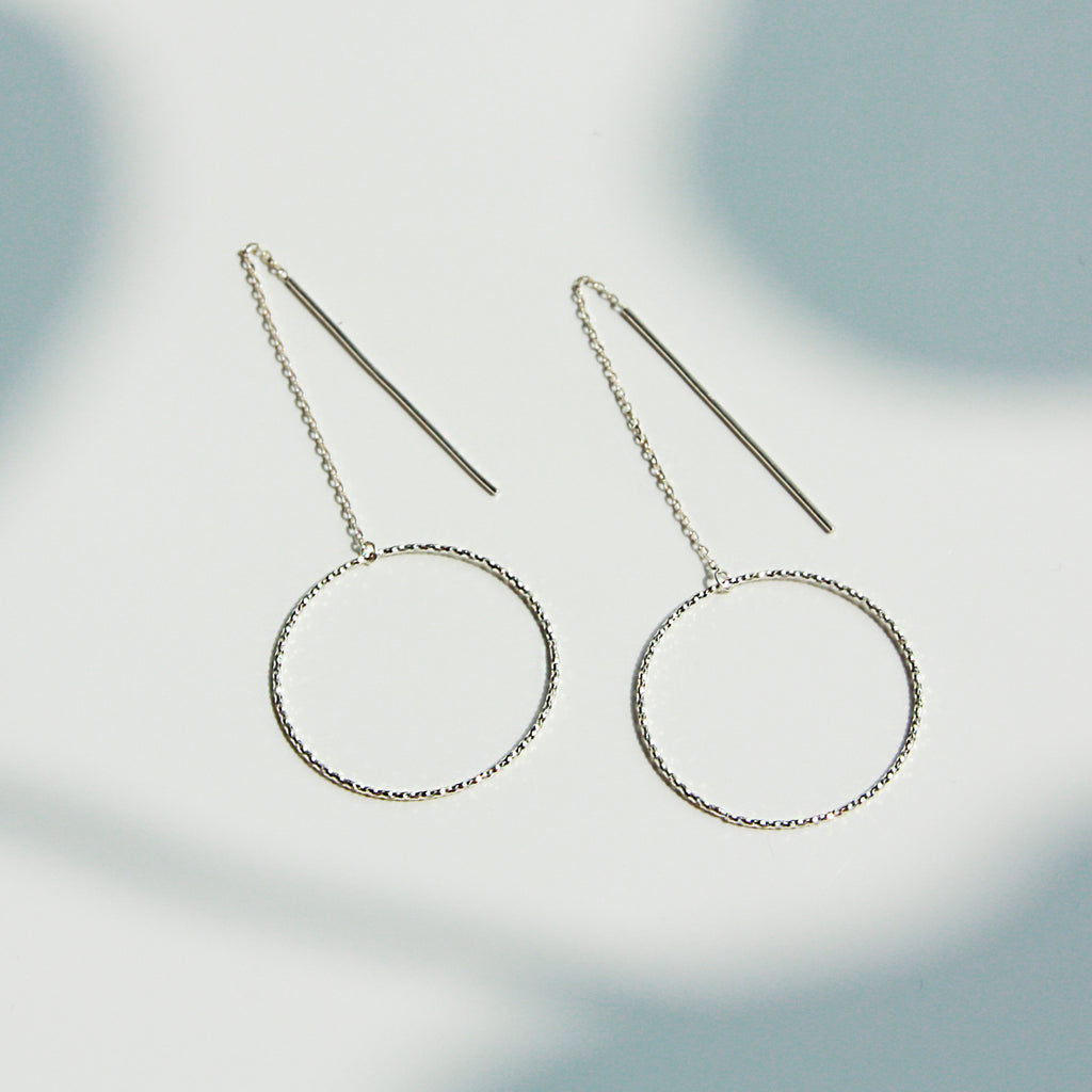 Textured Circle Drop Chain Earring