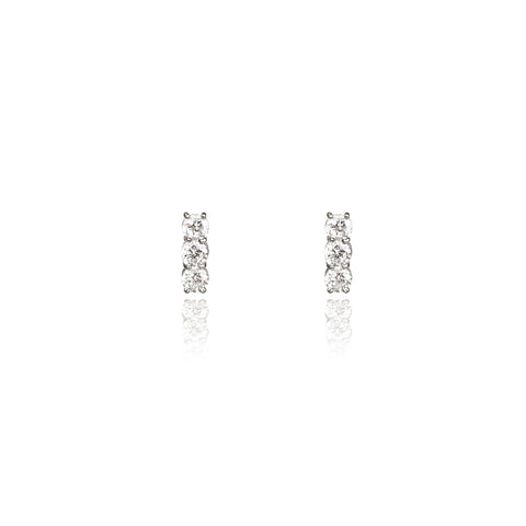 Graceful White Stone Bar Earrings