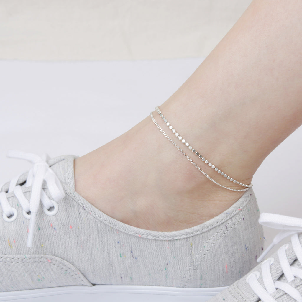 Two Row Bubbly Silver Chain Anklet