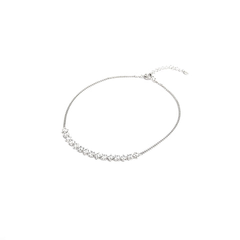 Gleaming White Stones Silver Chain Anklet