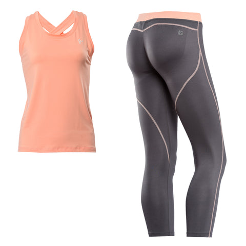 FREDDY D.I.W.O CONTRAST SPORT PANT + CRISS CROSS TANK SET - Peach/Grey