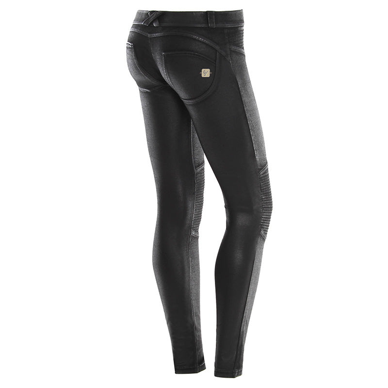 Freddy WR.UP® Motorcycle Coated Cotton Low Rise Skinny - Black