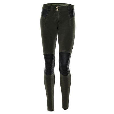 Freddy WR.UP® Pigment Dyed Leather Knee Patch Low Rise Skinny - Army