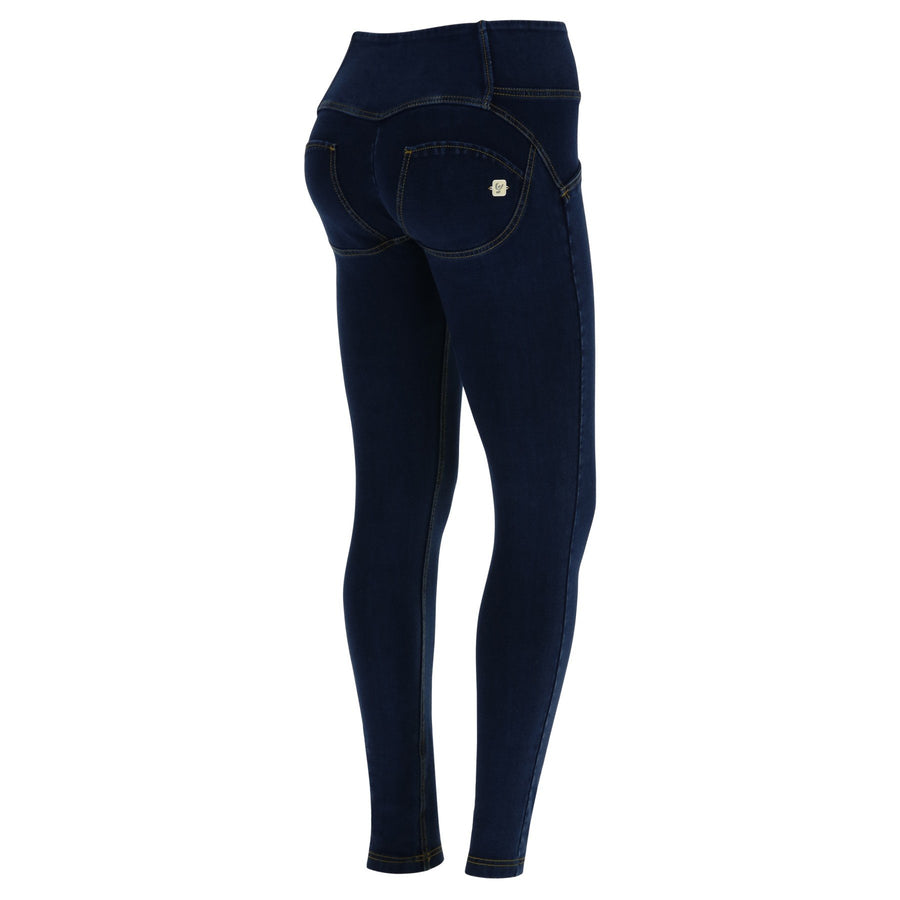 Freddy WR.UP® 3 Button Denim Mid Rise Skinny - Dark Rinse + Yellow Stitching