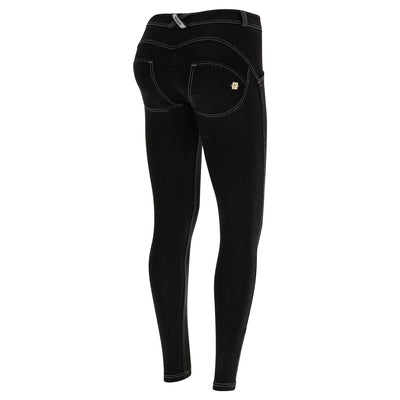 Freddy WR.UP® Denim Regular Rise Super Skinny - Black Rinse + White Stitching