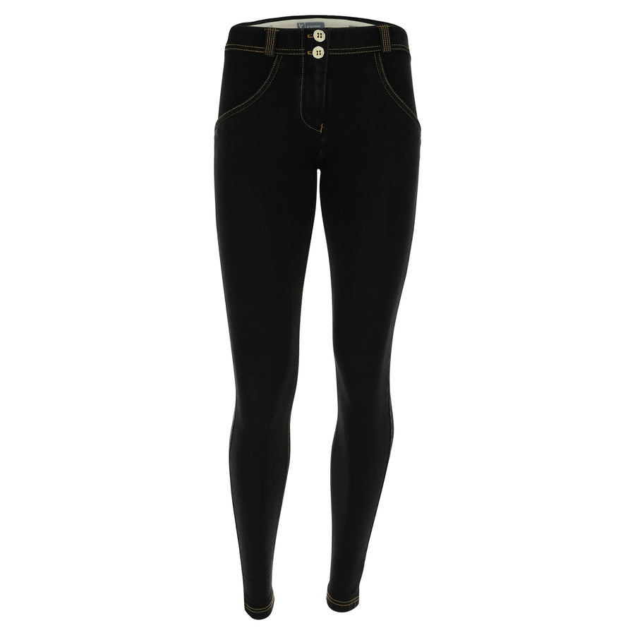 Freddy WR.UP® Denim Regular Rise Super Skinny - Black Rinse + Yellow Stitching