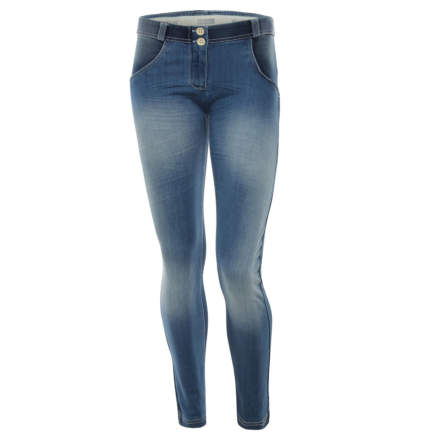 Freddy WR.UP® Whiskering Denim Regular Rise Skinny - Dark Rinse + White Stitching