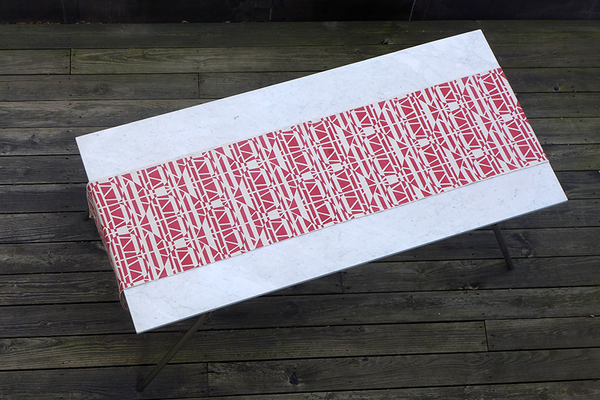 Dermond Peterson Alskling Table Runner. Red on Natural Linen.