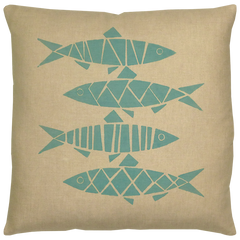 Sill Linen Throw Pillow Aqua on Natural Linen