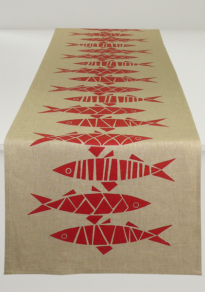 Sill Table Runner in Red on Natural Linen