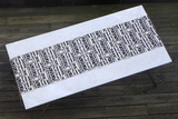 Dermond Peterson Alskling Table Runner. Black on Natural Linen. Block printed in Milwaukee. Hand Sewn. Linen. Sweetheart. Scandinavian.