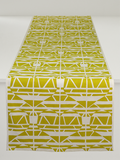 Dermond Peterson Alskling Table Runner. Mustard on White Linen. Scandinavian Swedish. Weaving. Sweethearts.