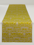 Dermond Peterson Alskling Table Runner. Mustard on Natural Linen.