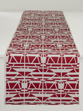 Dermond Peterson Alskling Table Runner. Red on White Linen.