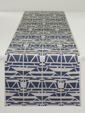Dermond Peterson Alskling Table Runner. Swedish Blue on White Linen. Sweethearts. Scandinavian. Weaving.