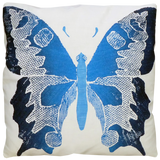 Dermond Peterson Butterfly Pillow in Indigo on White Linen