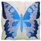Dermond Peterson Butterfly Pillow in Indigo on Natural Linen