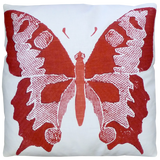 Dermond Peterson Red Butterfly Pillow on White Linen