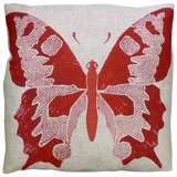 Dermond Peterson Red Butterfly Pillow on Natural Linen