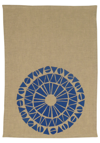 Dermond Peterson Cirkel Natural Linen Kitchen Towel. Skandia. Blue. Blue Cirkel. Natural Linen. Block Print. Made in Milwaukee.