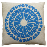 Dermond Peterson Cirkel Pillow in Blue on Natural Linen