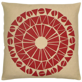 Dermond Peterson Red Cirkel Pillow on Natural Linen. Made in the USA. Block Print. Skandia Collection. Scandinavian.