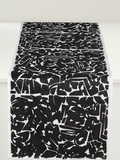 Dermond Peterson Collage Table Runner in Black on White Linen