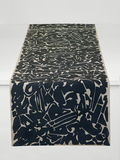 Dermond Peterson Collage Table Runner in Black on Natural Linen