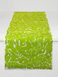 Dermond Peterson Collage Table Runner in Chartreuse on White Linen