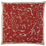 Dermond Peterson Collage Pillow in Red on Natural Linen