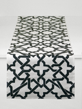 Dermond Peterson Cordoba Table Runner in Black on White Linen