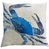 Dermond Peterson Crab Pillow Indigo on Natural Linen