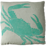 Dermond Peterson Crab Pillow Turquoise on Natural Linen