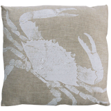 Dermond Peterson Crab Pillow White on Natural Linen